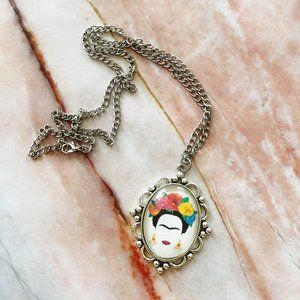 Frida Kahlo Art Necklace Mexican Feminist Jewelry